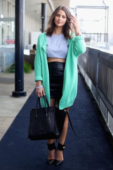 A scoop of a mint-choc-chip hue livens up the most simple of outfits.