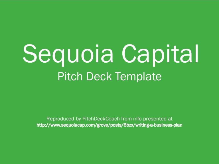 Sequoia Capital Pitch Deck Template Mba Pinterest Pitch