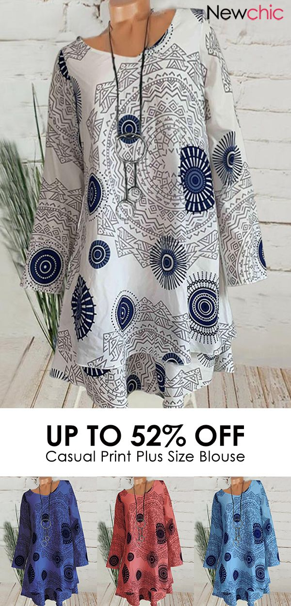 Photo of 【52% off】Casual Print Double Layer Long Sleeve Plus Size Blouse. #shirts #ca…