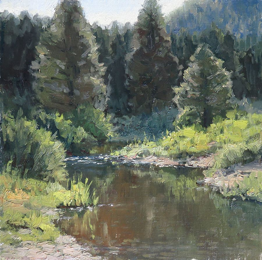 Backwater By Kathleen Dunphy Oil 12 X 12 Landscape Paintings Farm Paintings River Painting