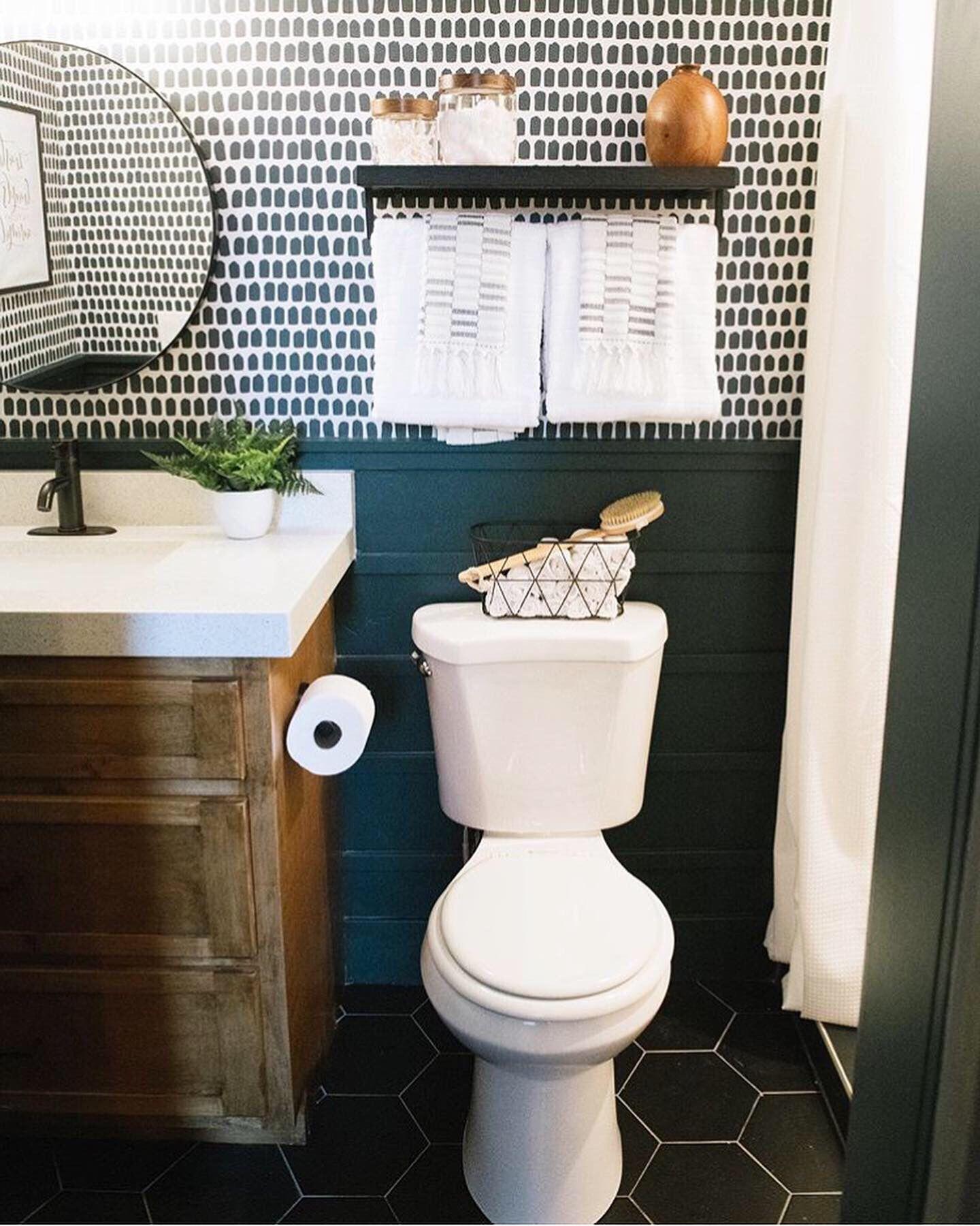 Tiny Brush Pattern Removable Wallpaper In Black Small Bathroom Interior Modern Farmhouse Powder Room Mens Bathroom Decor