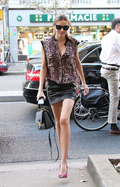 Miranda Kerr and Acne Belted Micro Mini Leather Skirt | Style ...