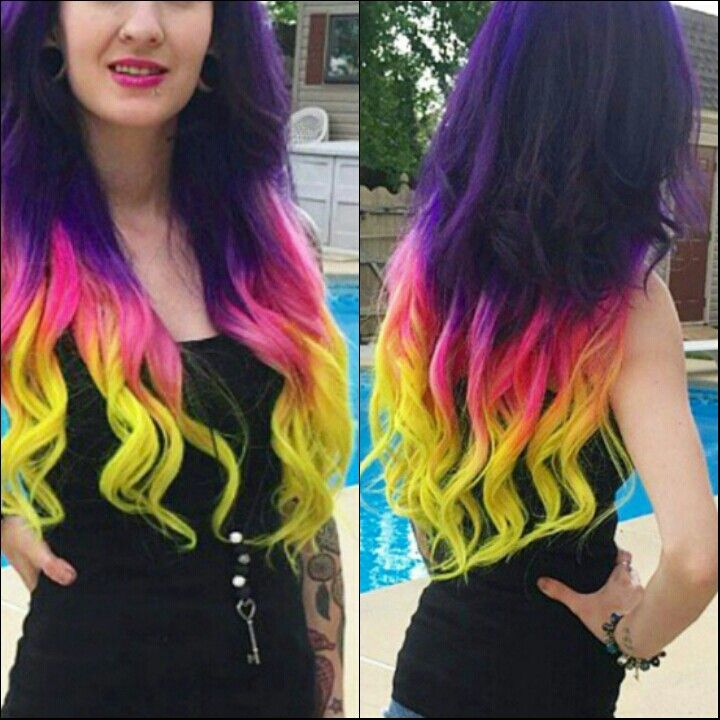 Purple pink neon dyed hair color @dana_lynn12