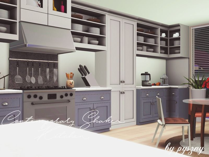 Lana Cc Finds Contemporary Shaker Kitchen By Pyszny16 The Sims
