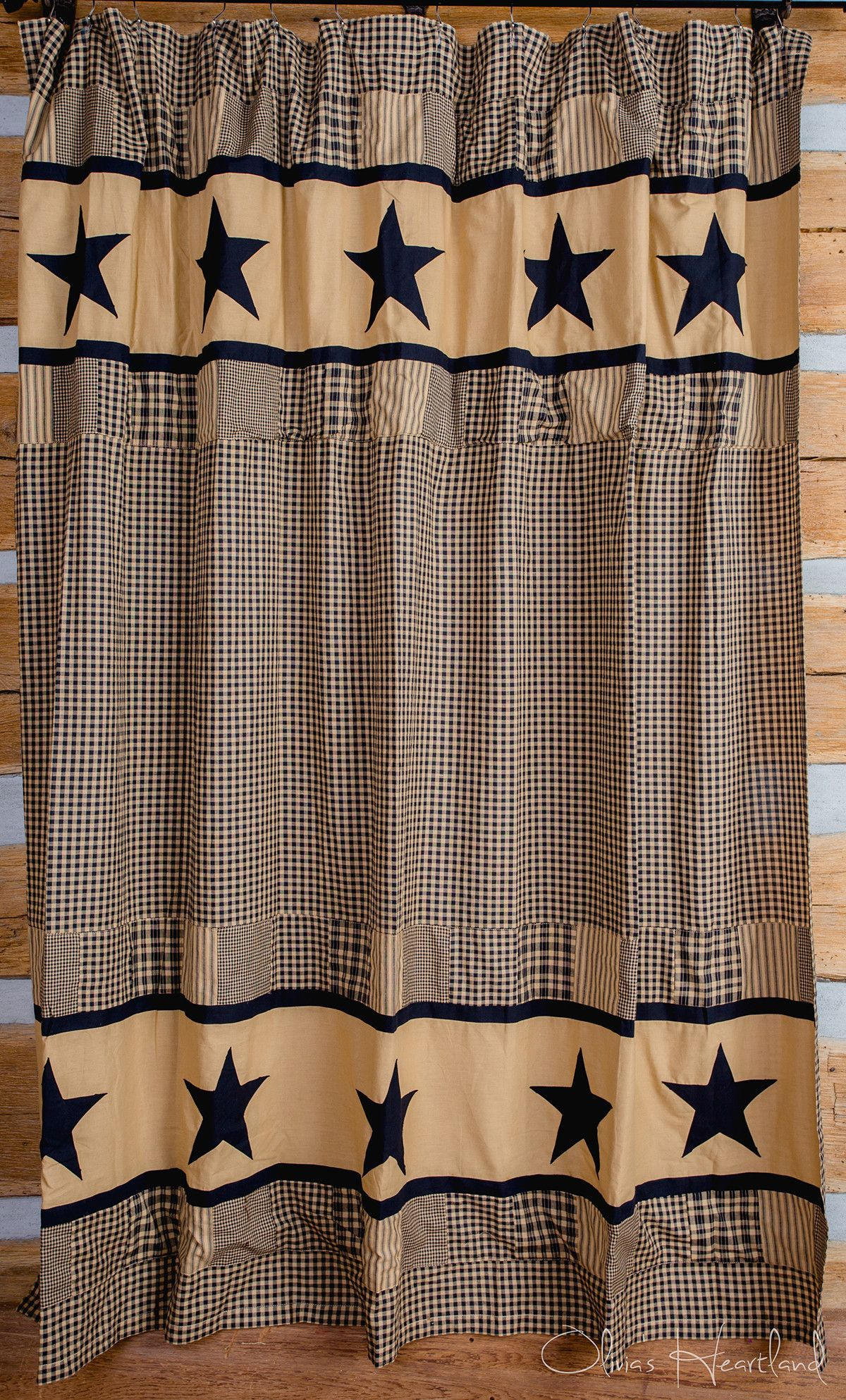 Jamestown Black And Tan Shower Curtain Country Shower Curtain