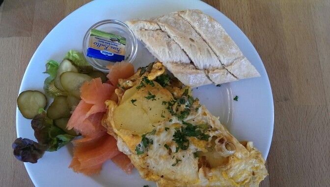 Potatoe Omelette with thinly sliced salmon