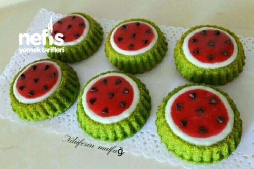 Photo of Watermelon Shaped Mini Tart Muffins