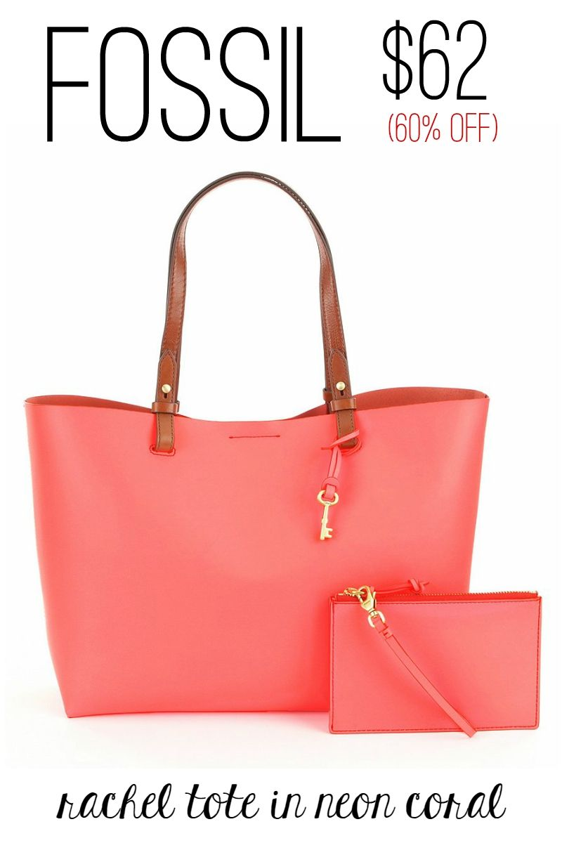 8d37cb6942f5 Rachel Tote in Neon Coral by Fossil on Sale for  62  sale  bags  spring   coral  tote  fossil  bag