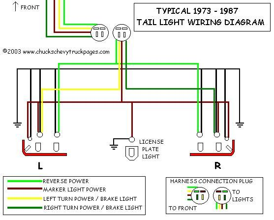 headlight and tail light wiring schematic diagram typical  headlight and tail light wiring schematic diagram typical 1973 1987 chevrolet truck