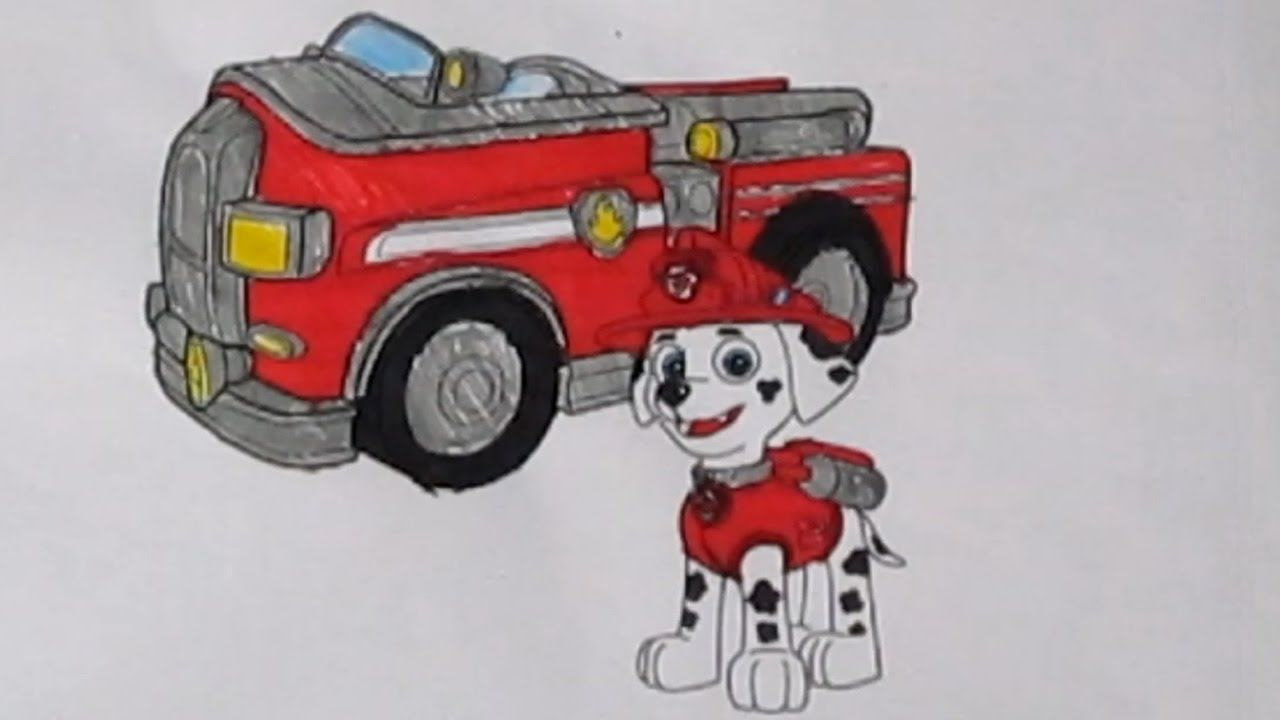 paw patrol marshall fire truck coloring pages philips creations