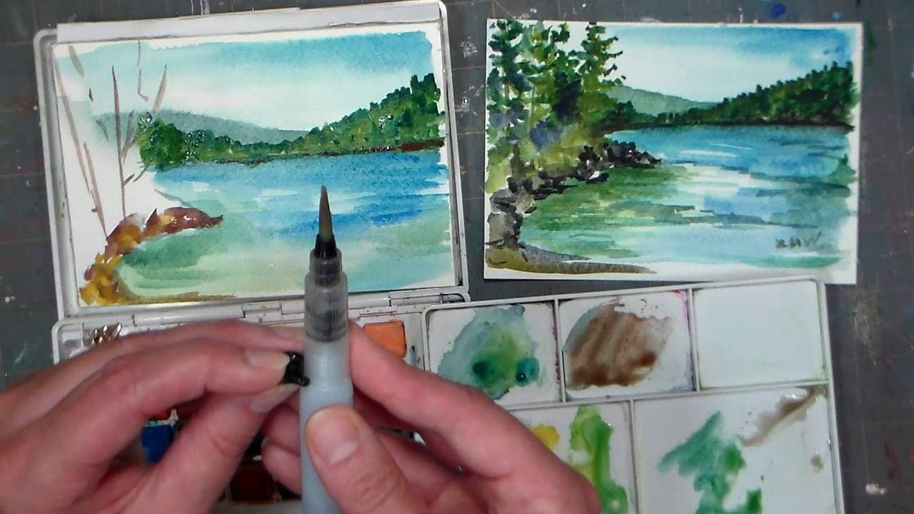 Pond scene beginner watercolor tutorial real time i am for Koi fish pond for beginners