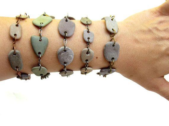 Photo of Items similar to Wholesale Beach Stone Jewelry. Natural Stone Bracelet Lot. 5 Bracelets. on Etsy