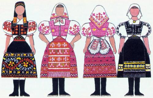 20c5d4450 slovak-folk-costumes: Folk clothing around Slovakia, from the book Naše  kroje by Viera Nosáľová and Jarmila Paličková.