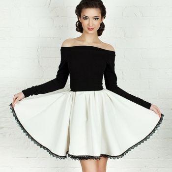 New Stylish Lady Women's Fashion Sexy Off Shoulder Patchwork A-Line Dress