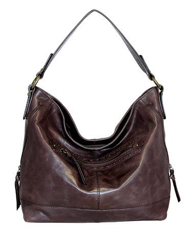 Another great find on #zulily! Chocolate Magnolia Bloom Leather Hobo…