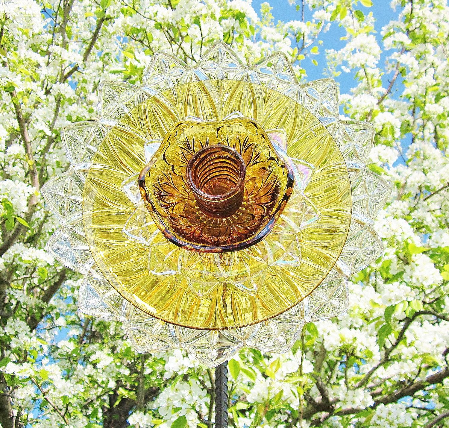 How to make glass yard art - Flower Garden Art Glass Yard Stake Outdoor Decor Upcycled Recycled Amber