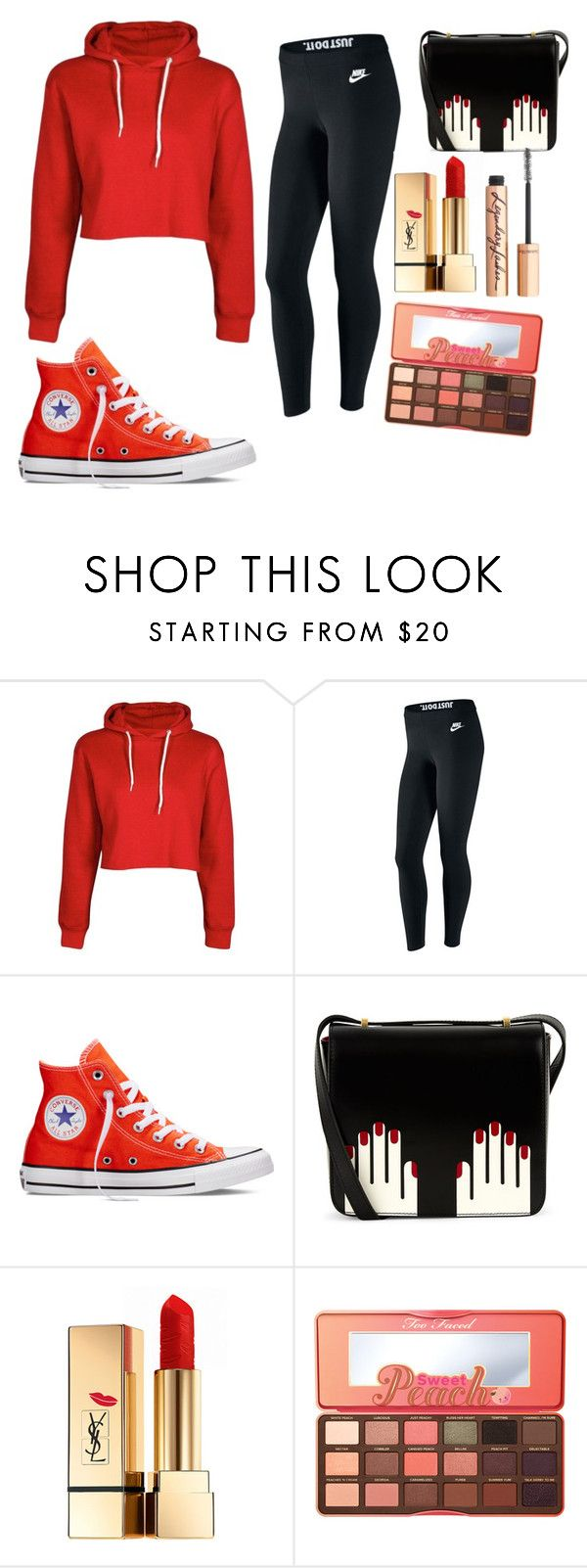 """""""Red/Black"""" by queenalisa on Polyvore featuring NIKE, Converse, Lulu Guinness, Yves Saint Laurent, Too Faced Cosmetics and Charlotte Tilbury"""