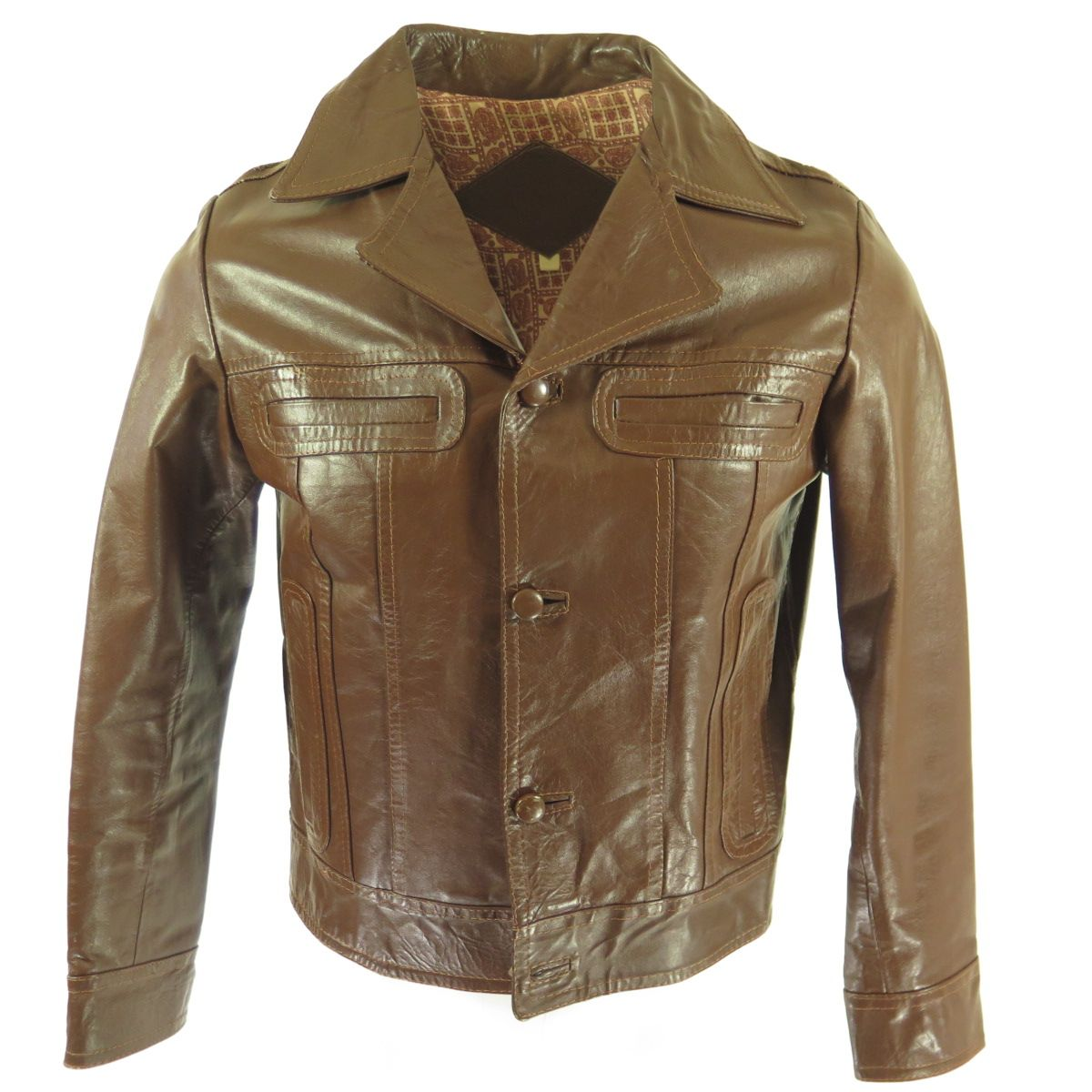 Vintage 70s Leather Jacket Mens Small Brown Paisley Liner Fitted 40 The Clothing Vault Leather Jacket Jackets Leather Jacket Men [ 1200 x 1200 Pixel ]
