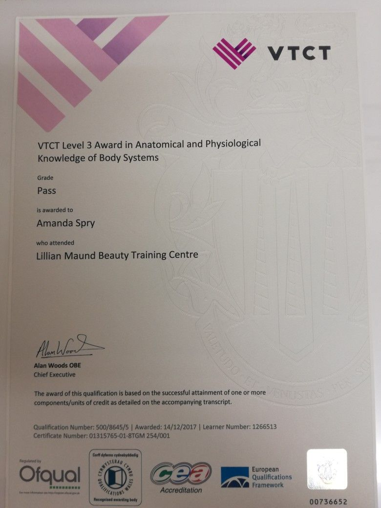 My VTCT Anatomy and physiology certificate | spmu | Pinterest ...