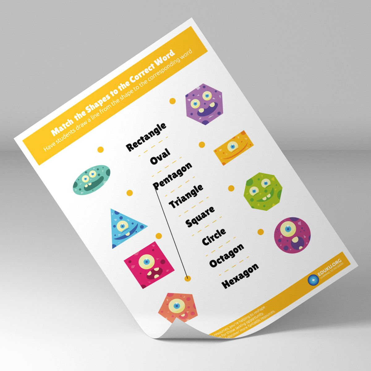 Cute Colorful Shapes Matching Worksheet For Kindergarten