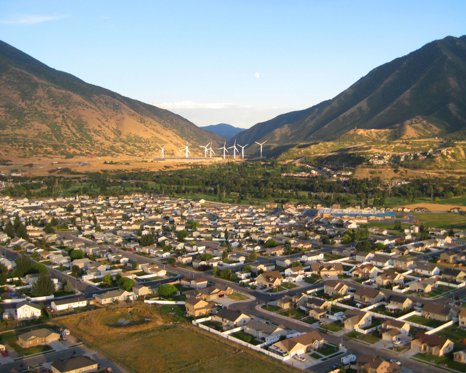 Spanish Fork, Utah Notice the Wind Mills at the mouth