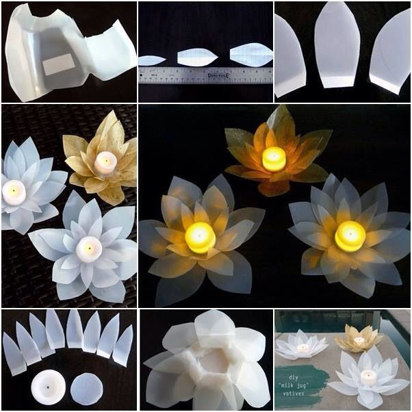 Smart DIY plastic flower candle holders.