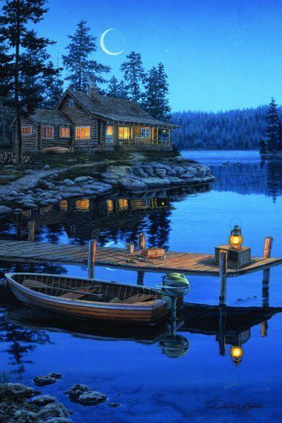 Led Canvas Art Crescent Bay Moon Cabin Art Pictures Landscape Paintings