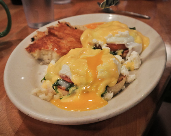 Sound Bites is pretty much the gold standard for solid eggs bene. The yolk is always super runny and their Hollandaise is tangy & perfect!