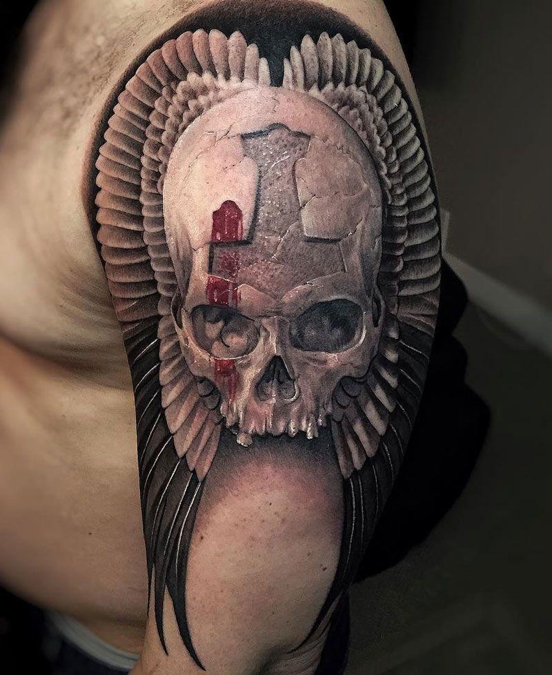 Skull Wings Atrament Tatuaże Męskie Tatuaż I Tatuaże