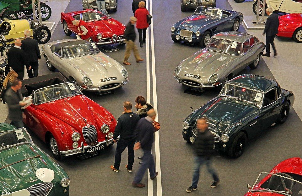 Potential took a closer look during a pre-auction viewing for the H&H Classics, classic ca...