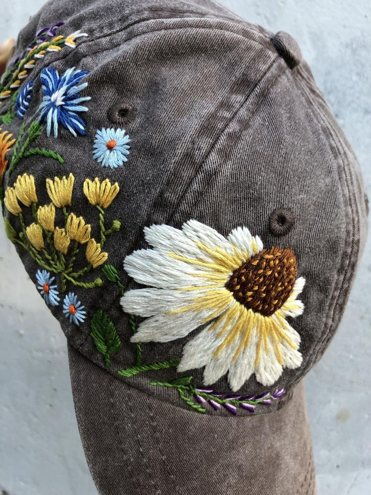 Photo of Hand Embroidered Hat / Custom Embroidered Hat / Floral Embroidered Hat / Embroidered Baseball Caps / Brown Cap / Flower Hat / Wildflower