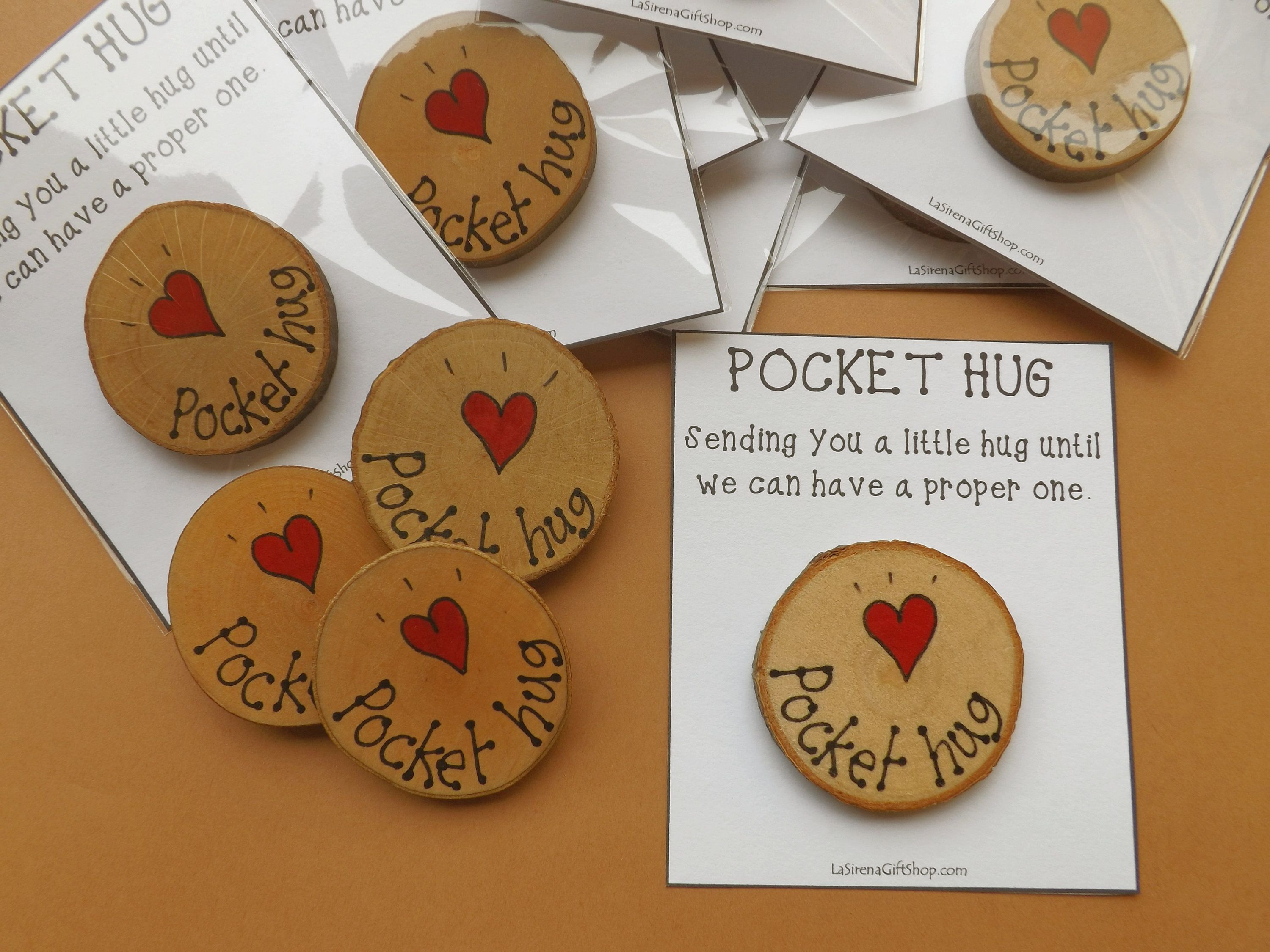 Pocket Hug Small Wood Slice Customisable Card Lockdown Etsy In 2021 Small Valentines Gifts Hand Painted Gifts Button Christmas Cards