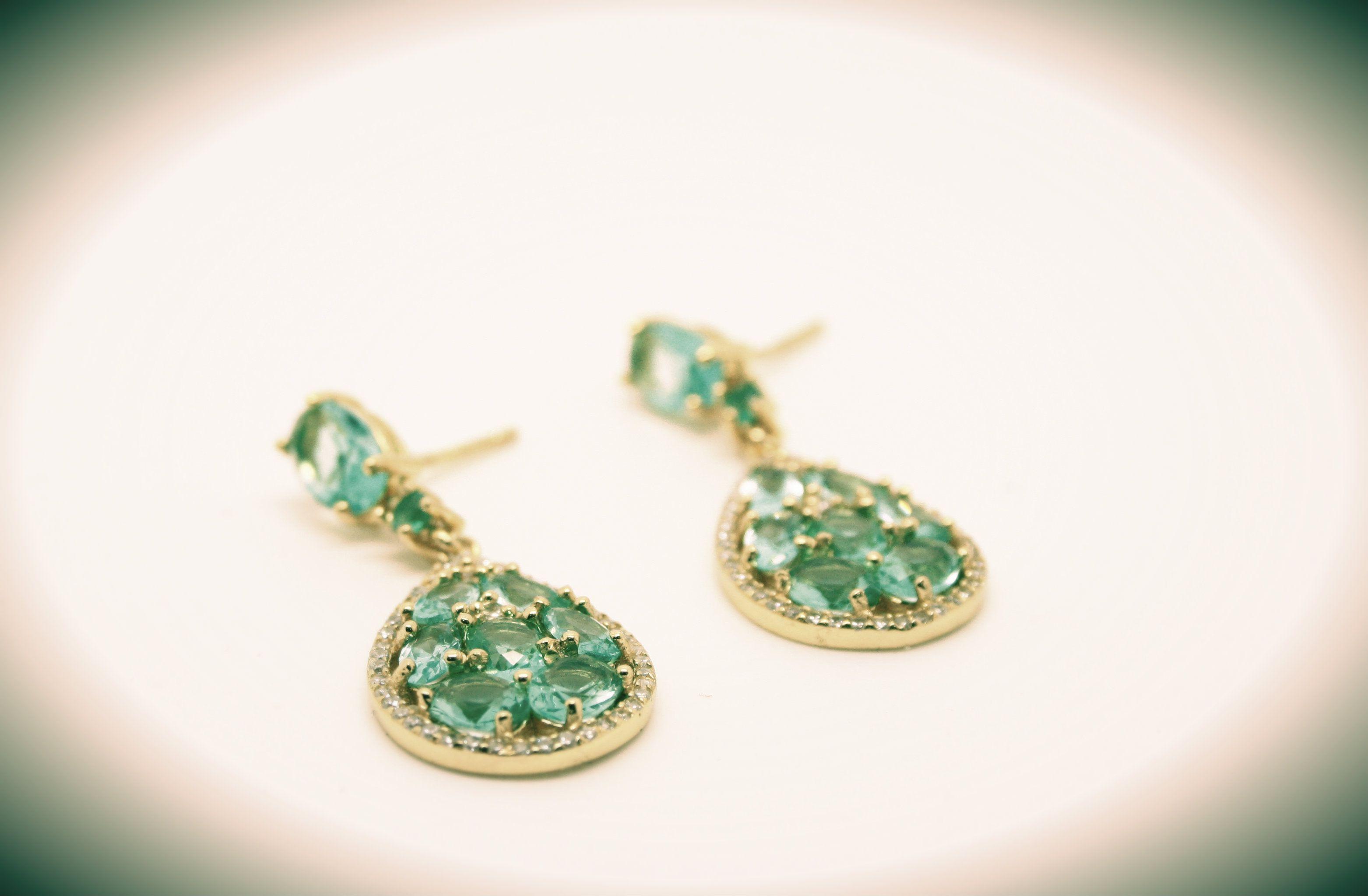 Brincos Prata Dourada Pedras Verdes