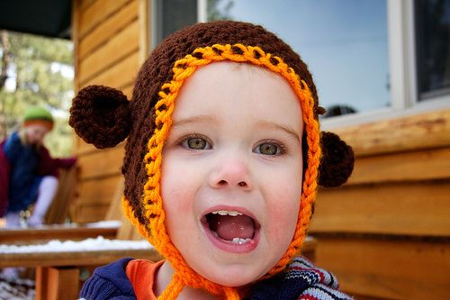 What could be better than an adorable monkey?  One in a super cute crocheted monkey hat!