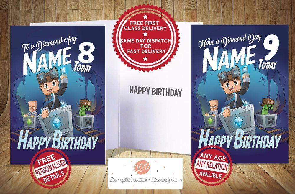Dan Tdm Minecart Personalised Birthday Card Any Relation Same