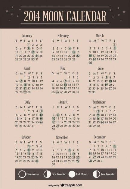 Calendar Organization Zodiac : Moon calendar template design phase me