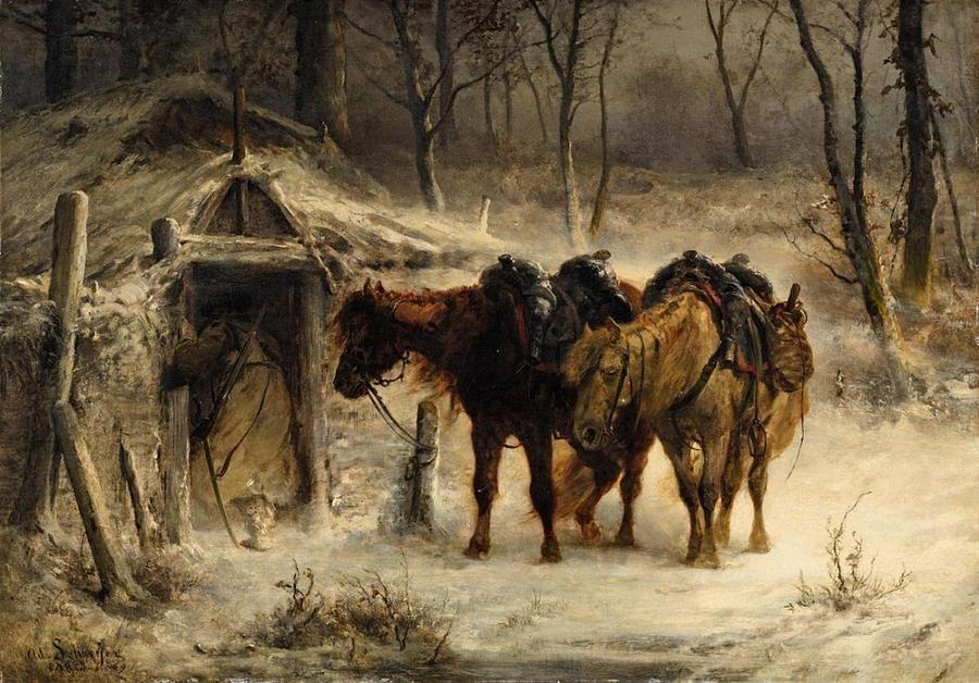 Pintura de Adolf Schreyer - paisaje del invierno con un Huntsman y los caballos por los diseños de MotionAge