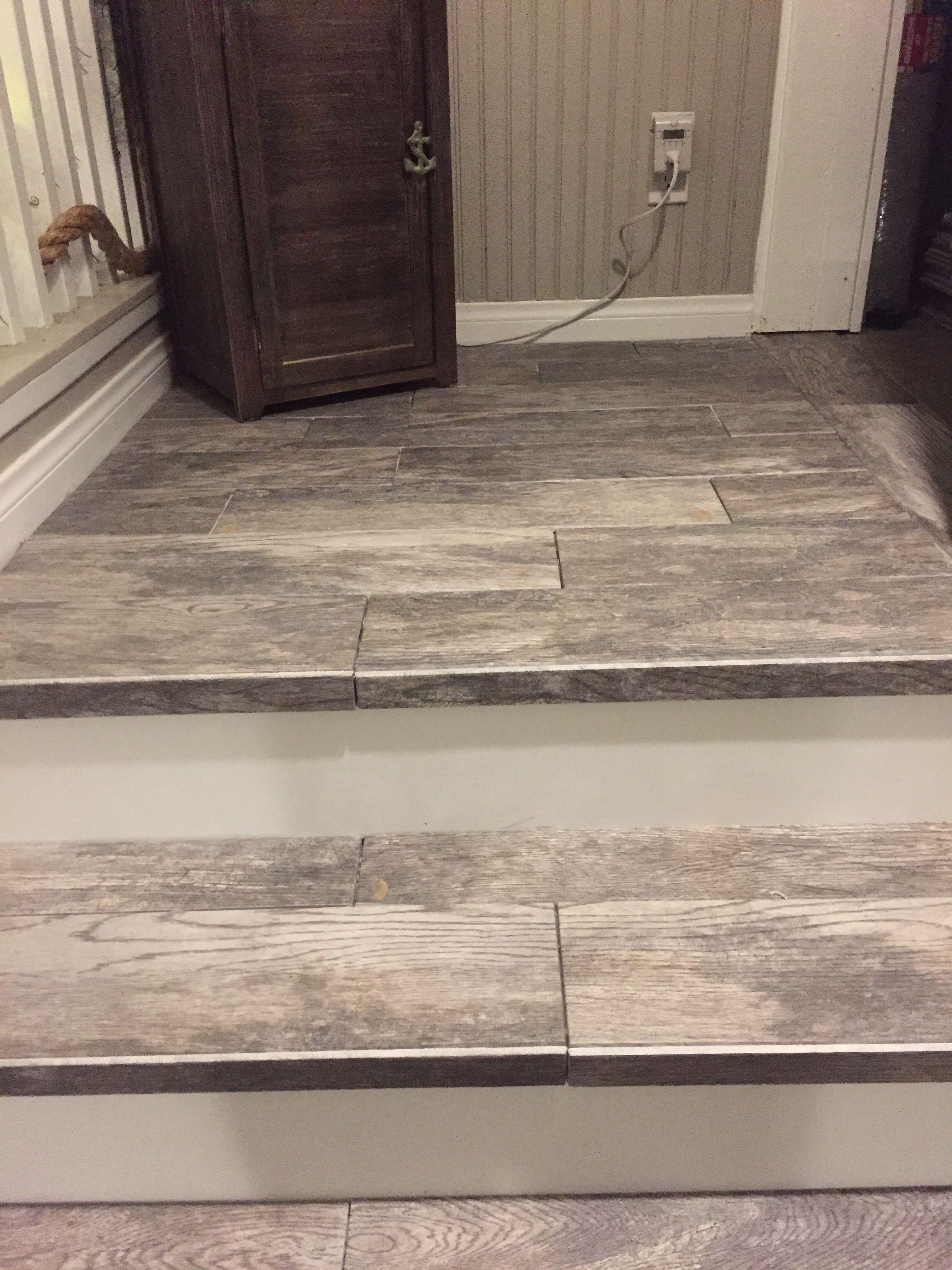Tiled Stairs Wood Look Barn Wood Stairs Wood Tile Tile Stairs | Wood Look Tile For Stairs | Weathered Wood Distressed | Ceramic | Bedroom | Rocell Living Room | Porcelain
