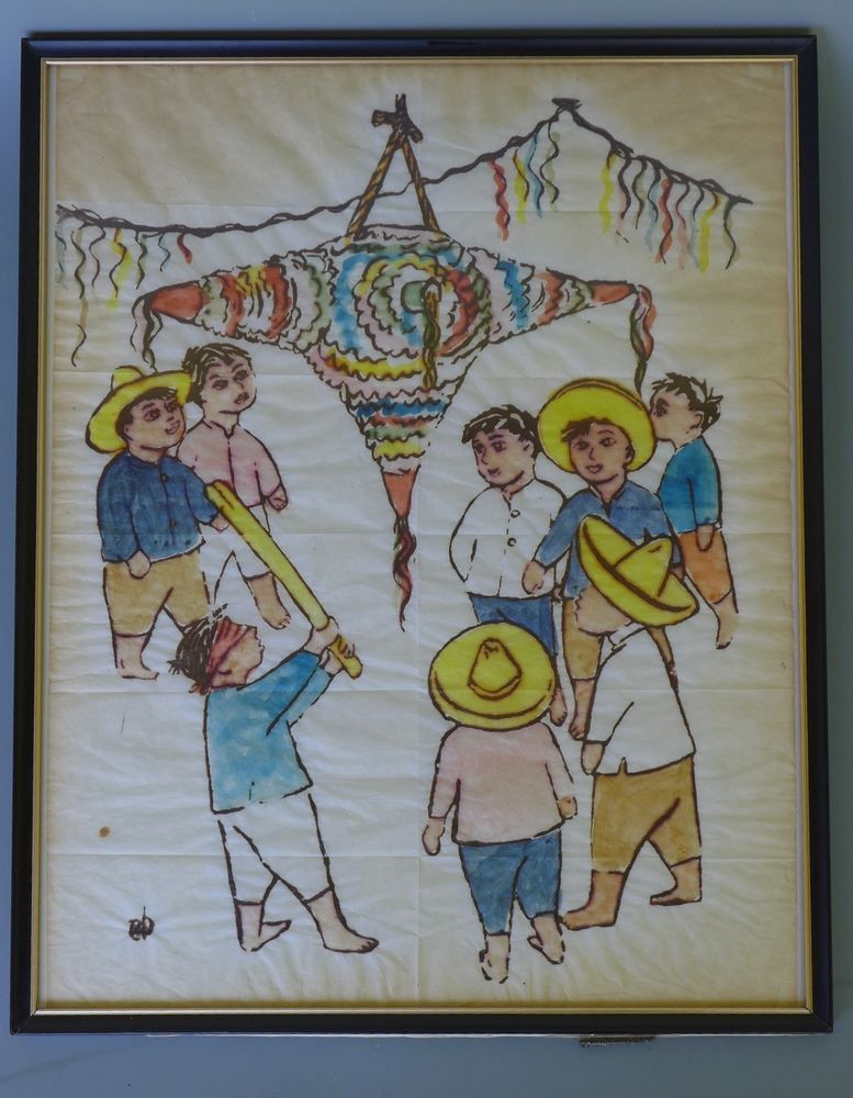 old mexico mexican vintage early california water color painting