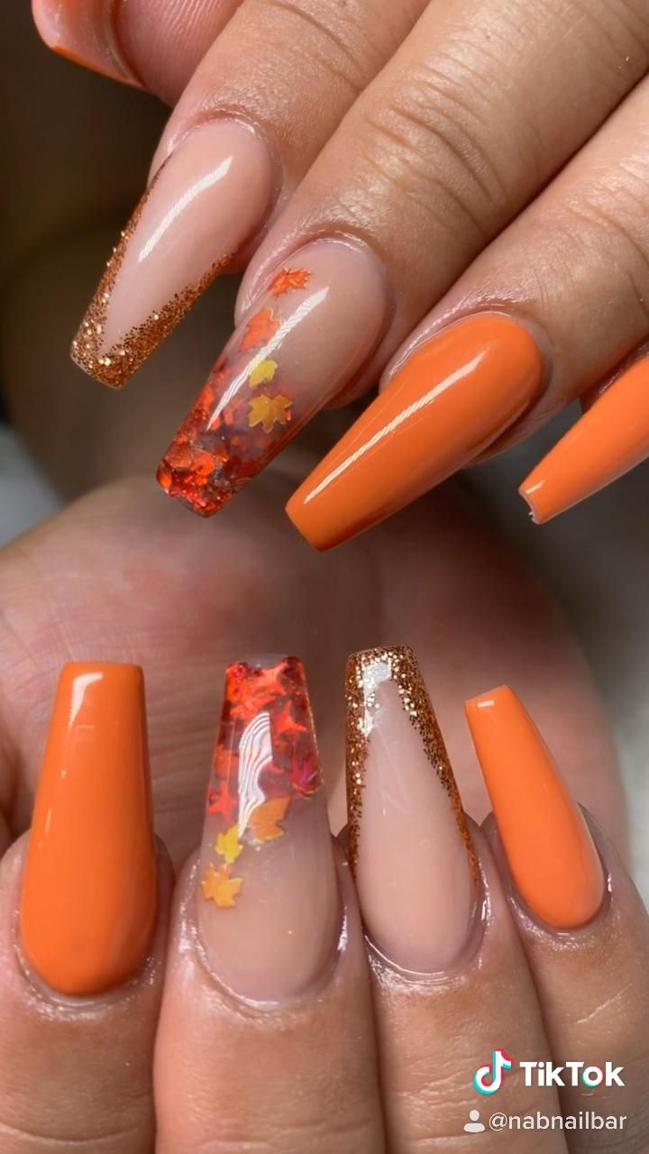 Encapsulated Nude & Orange Fall Nail Designs
