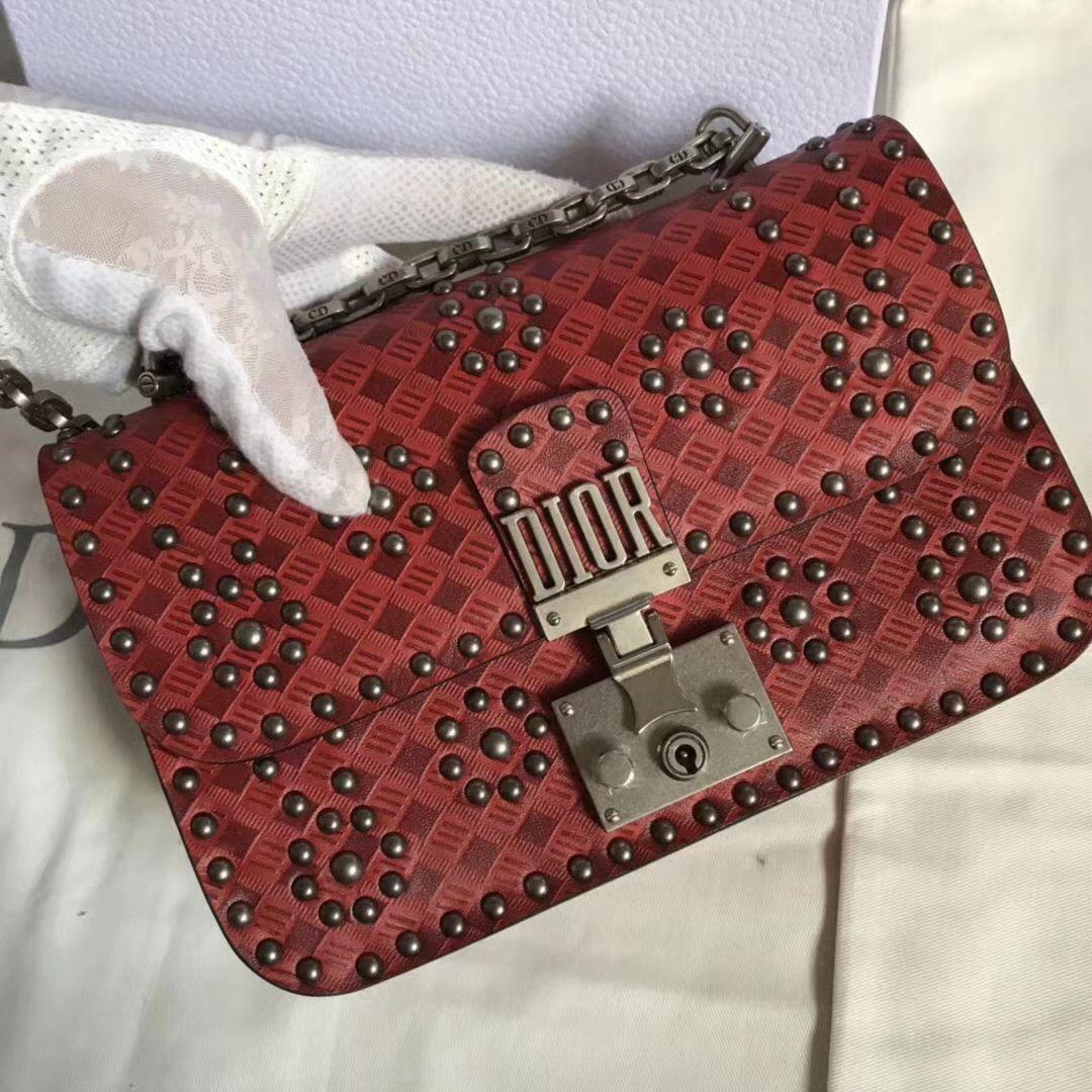 0de0ca7ad5 Dior Dioraddict Clutch Bag in Studded Calfskin Red 2018 | LADY DIOR ...