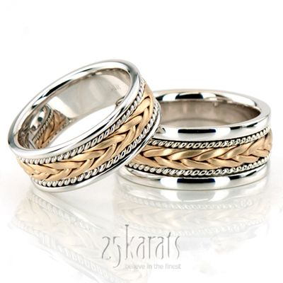 Stylish Sandblasted Hand Braided Wedding Band Set Matching Wedding Rings Braided Wedding Band Wedding Ring Sets