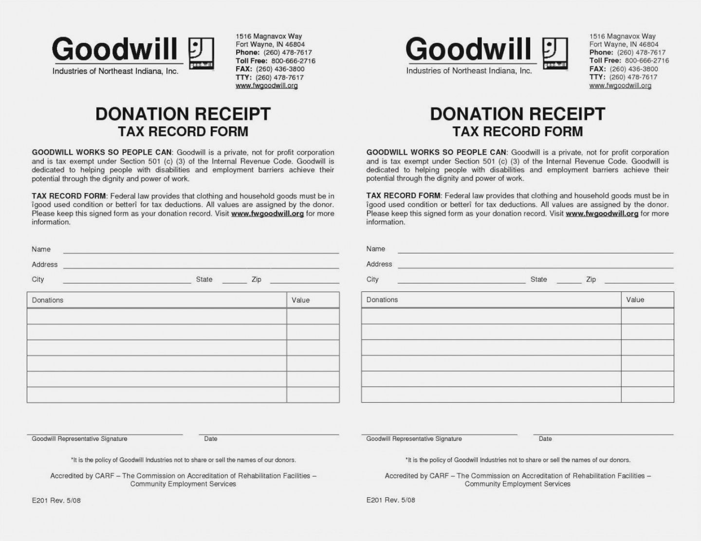 free salvation army donation receipt template download 14