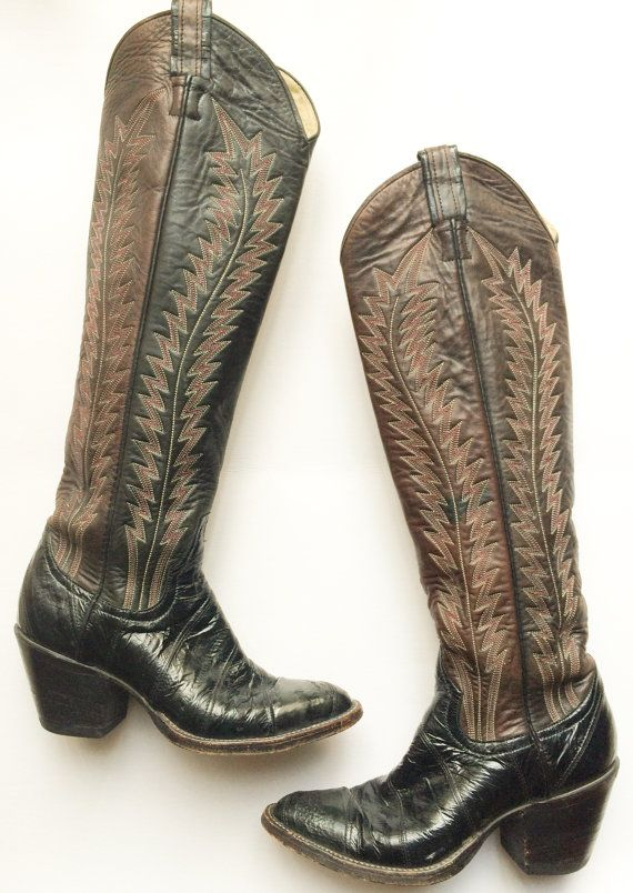 ee0dd6339a2 Vintage Knee High Larry Mahan Cowboy Boots w/ by MooreVintageBK ...