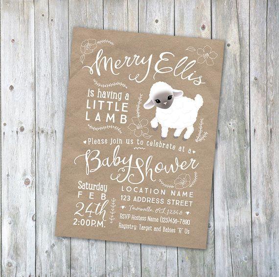 Wonderful Little Lamb Baby Shower Or Baptism Invitation! So Cute!