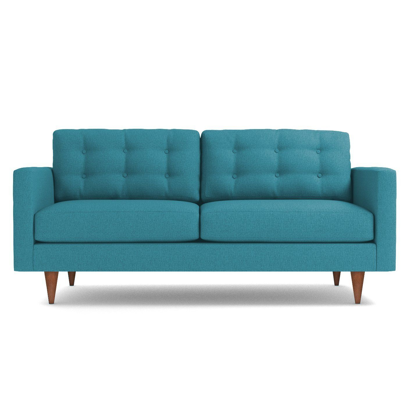 Logan Sofa Leg Finish Pecan Apartment Size Sofa Blue