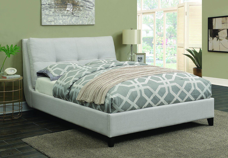 Ivory Queen Bed Upholstered platform bed, King size
