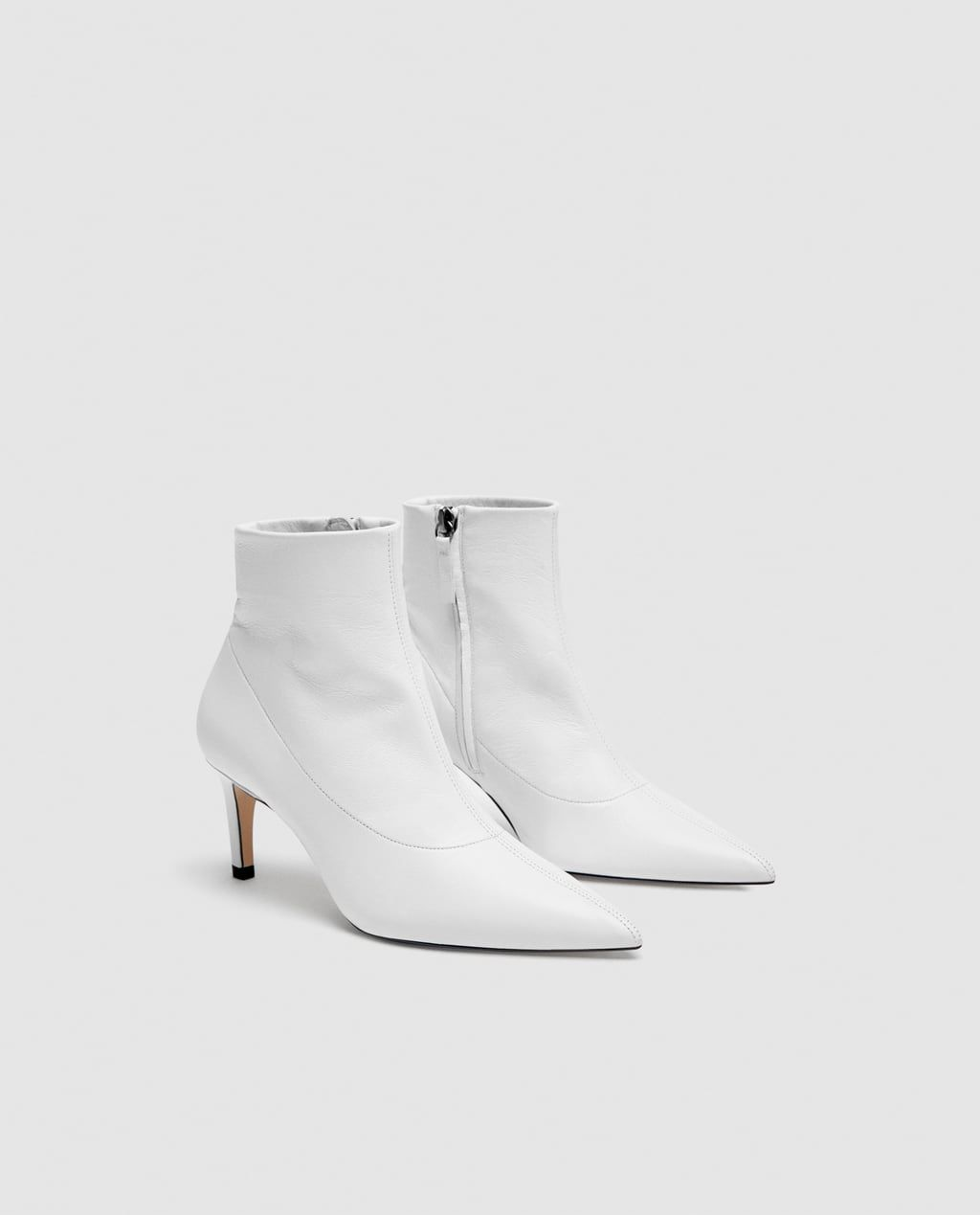 LEATHER MID-HEEL ANKLE BOOTS from Zara