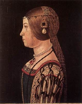 ARALDI, Alessandro (b. ca. 1460, Parma, d. ca. 1530, Parma)   Click!	 Portrait of Barbara Pallavicino  1510s Oil on wood, 46,5 x 35 cm Galleria degli Uffizi, Florence  The portrait of this unknown young woman, supposedly Barbara Pallavicino, has the cold, refined beauty of a cameo, and a certain stiffness in its position of clear profile.
