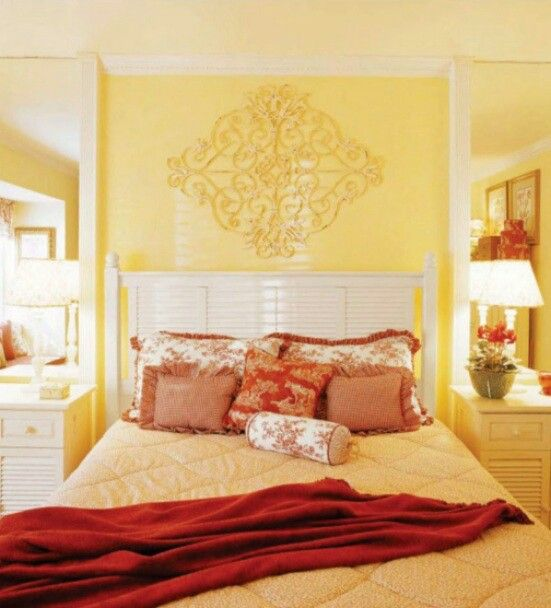 Warm Yellow/red bedroom decore | Home decore | Pinterest | Red ...